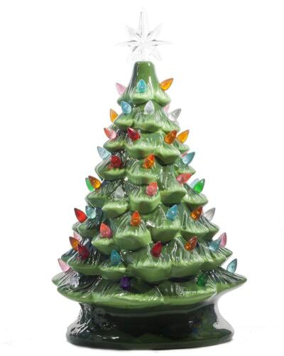 ReLive 14.5 Inch Green Ceramic Christmas Tree with Multicolored Lights and Music