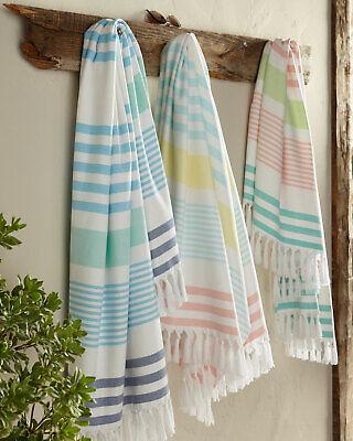 Kassatex Sonia Stripe Beach Towel 100% Long Staple Turkish Cotton