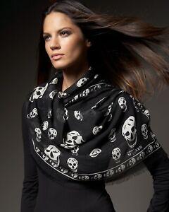 Alexander McQueen - Black/White Silk Classic Skull Scarf
