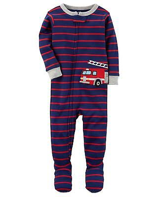 1 Cotton Baby Sleeper - CARTER'S BABY BOY 1PC RED FIRETRUCK FOOTED SLEEPER COTTON PAJAMAS 12M 24M