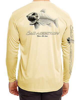 Salt Addiction Microfiber  Bones Poly fishing t shirt Moisture Wicking  30+ UV