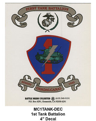 1st Tank Battalion, insignia decal/sticker (USMC Marines Marine Corps Armor)