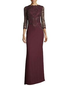 Tadashi Shoji Illus Long-Sleeve Illusion Evening Gown SZ 6 Retail $495