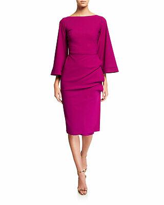 Chiara Boni La Petite Robe Cassandre Bell Sleeve dress Purple Sz 6 NWT $695