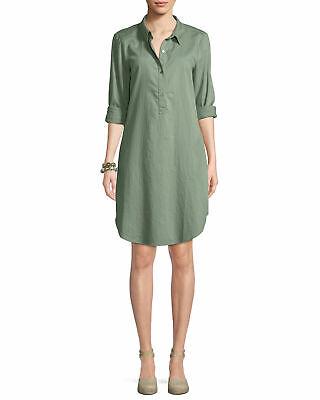 Eileen Fisher Women's Green Soft Organic Cotton Twill Henley shirt Dress 422$ XS