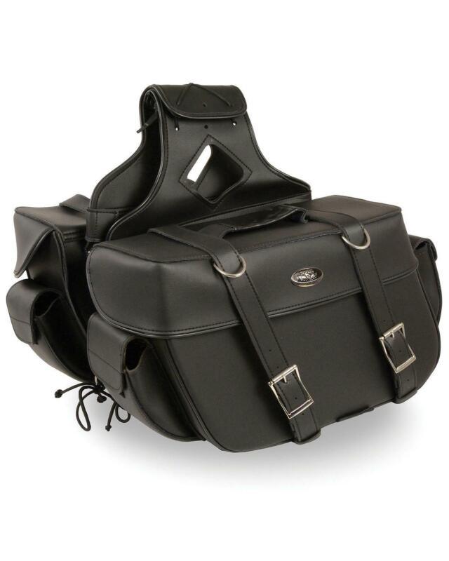 Milwaukee Leather Large Zip-Off Throw Over Saddle Bag Black