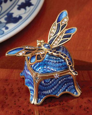New Jay Strongwater Indigo Dragonfly Box Blue Crystal Swarovski
