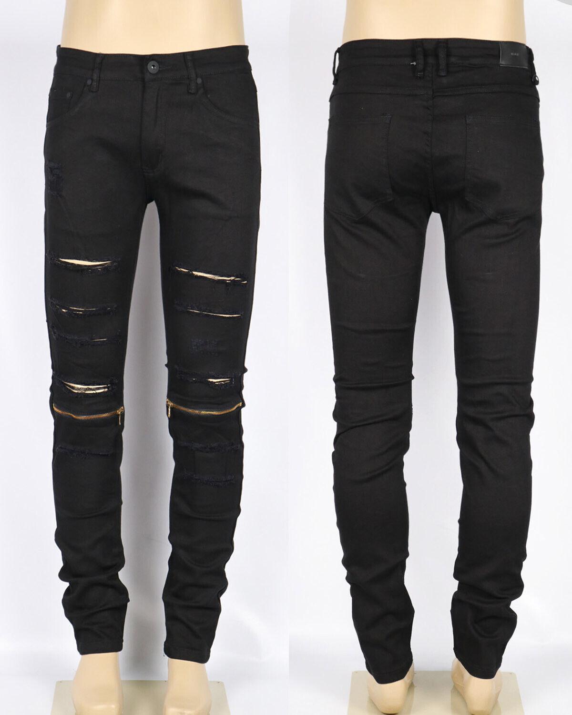 KDNK Men's Destroyed Jeans with Knee Zipper Kayden K Biker