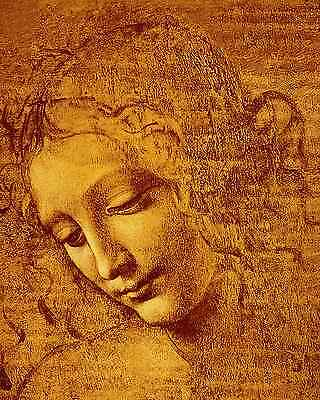 Leonardo Da Vinci Canvas Giclee ACEO Print - Portrait figure study