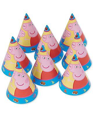 NEW Peppa Pig Birthday Cone Hats (8) Birthday Party Supplies Favors Decorations~ ()
