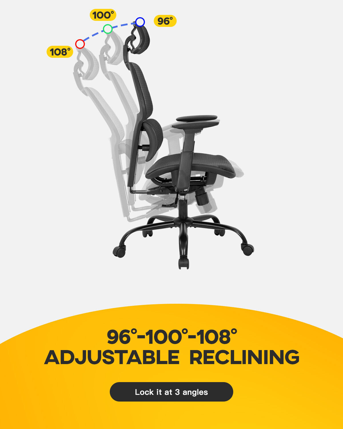 Office Chair Ergonomic Desk Chair Mesh Computer Chair with Arms Lumbar Support Business & Industrial