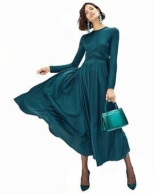 New Gabriela Hearst Hermina Long-Sleeve Pleated Silk Green maxi Dress Size 38