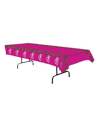 Morris Costumes Party Supplies Day Of The Dead Pink White Tablecover. BG00937 - Day Of Dead Party Supplies
