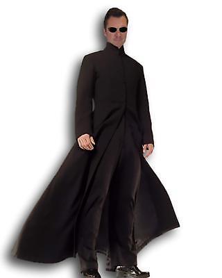 Erwachsene Herren Cybe Mann Kostüm Neo Lang Schwarz - Herren Trenchcoat Schwarz Kostüm