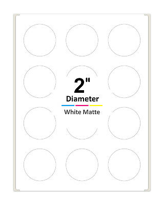 2 Inch Round Labels For Laser Inkjet Printers Permanent Adhesive White Matte