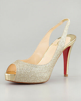 100% AUTH NEW WOMEN LOUBOUTIN No PRIVE 100 GOLD GLITTER SLINGBACKS HEELS US 7