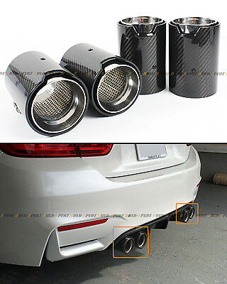 FOR 2015-2018 BMW F80 M3 F82 M4 CARBON FIBER STAINLESS EXHAUST TIP FINISHERS X 4
