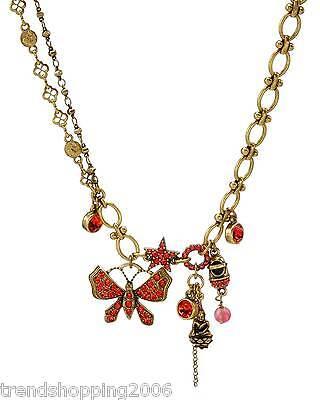 Üppige PILGRIM Kette Collier Schmetterling Stern, Kristall Perle vergoldet, rot