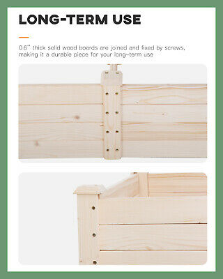 Square Garden Raise Bed Elevated Garden Bed Wood Planter Box Kit For Vegetable Baskets, Pots, Window Boxes & Saucers