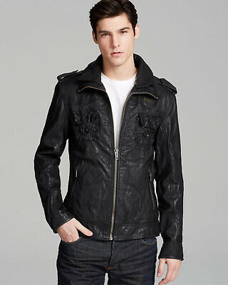 "Superdry Men's Black Ryan Leather Jacket Size: XL 42"" (107cm) RRP £372"