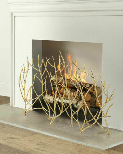 Gold Branches Fireplace FireScreen Luxe Organic Modern Glam Horchow NEW