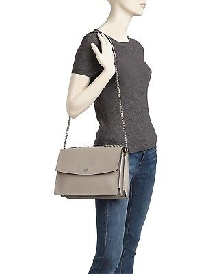 Tory Burch Parker Convert LRG Leather Shoulder Bag in Dust Storm/Cardamom  NWT