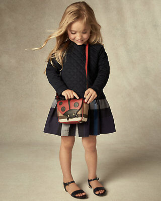 NWT NEW Burberry Mini Orlia baby girls navy blue nova check quilted dress 6m
