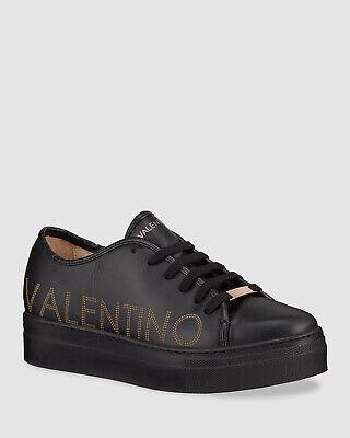 $496 Valentino Women's Black Dalia Platform Lace-Up Sneakers Shoes Size US 8