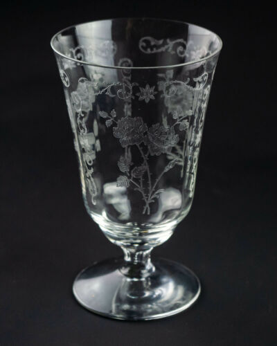 "Fostoria Midnight Rose Etch 9oz Footed Tumbler Glass, Vintage Elegant 5 1/4"""