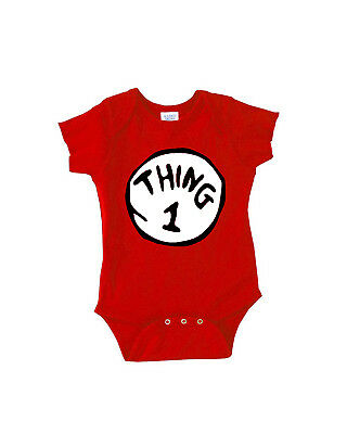 Dr. Seuss Thing 1 and Thing 2 Rabbit Skins Infant Baby Rib Bodysuits (Dr Seuss Short Sleeve Bodysuit)