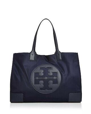 NEW Authentic Tory Burch Ella Nylon Logo Tote Bag Navy