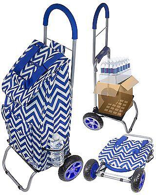 DBST-01587-Trolley Dolly, Blue Chevron Shopping Grocery Foldable Cart
