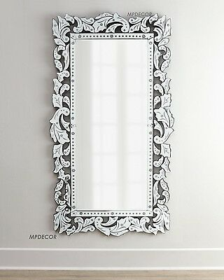 "Ornate Venetian Full Length Wall Mirror Hand Cut Embellishments 72""H"