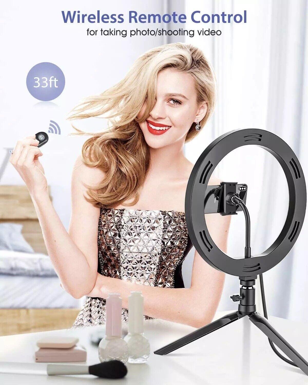 10. Led Ring Light Phone Holder Portable Photo Selfie Makeup Tripod Stand - $16.90