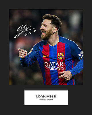 LIONEL MESSI #8 (Barcelona) Signed10x8 Mounted Photo Print - FREE DELIVERY
