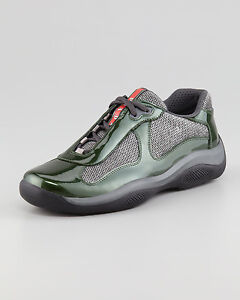 PRADA Men's GREEN / GRAY PATENT AMERICAS CUP SNEAKERS SHOES 6 / US 7