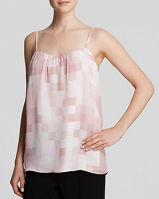 NWT- Vince Tonal Square Printed Silk Camisole Top, Rosewood Pink - Size XSmall