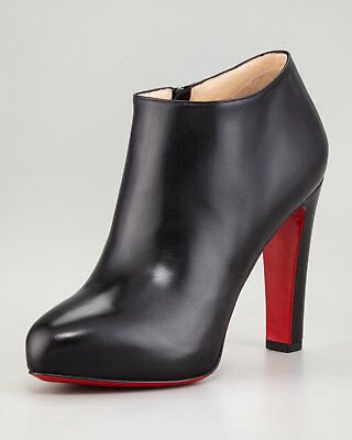 100% AUTHENTIC NEW WOMEN LOUBOUTIN VICKY BLACK ANKLE BOOTIES/BOOTS US 8.5