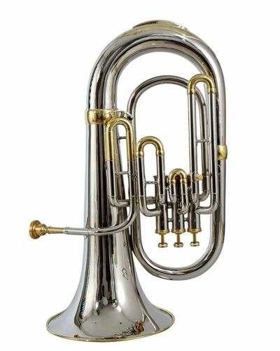 NEW HIGH QUALITY ! NICKLE BRASS  Bb FLAT 3 VALVE EUPHONIUM WITH FREE  CASE+M/P