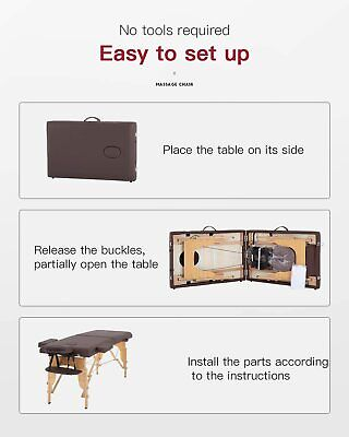 Massage Table Massage Bed Spa Bed 73 Inch Portable 2 Folding W/Carry Case Table Health & Beauty