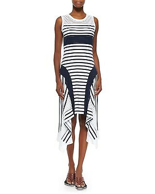 New! $755 Jean Paul Gaultier	 Sport-Stripe Handkerchief-Hem Tank Dress Sz XSmall