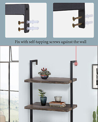 4-Shelf Bookcase Open Wall Mount Ladder Bookshelf with Industrial Metal Frame Bookcases & Shelving