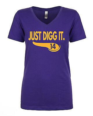 Womens V Neck Stefon Diggs Minnesota Vikings  Just Digg It   T Shirt  Ladies
