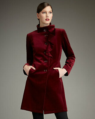 JANE POST Womens Sz Medium Merlot Velvet Ruffle Button Front Coat