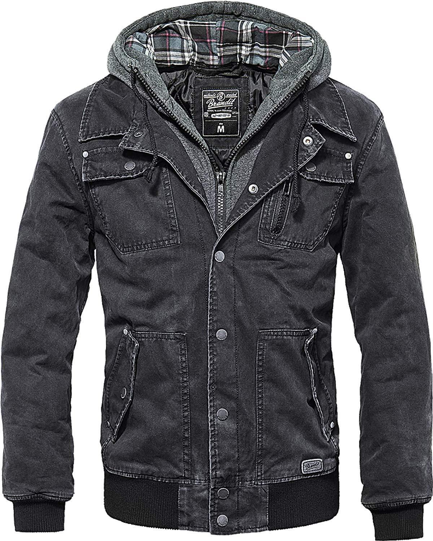 Brandit Dayton Herren Jacke Vintage Motorradjacke Kapuze schwarz Kapuzenjacke
