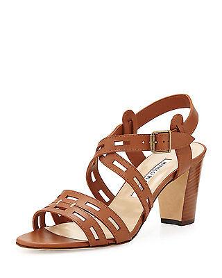 $775 Manolo Blahnik ESSA Leather Cutout Sandal Block Heel Shoe Luggage Brown 9.5