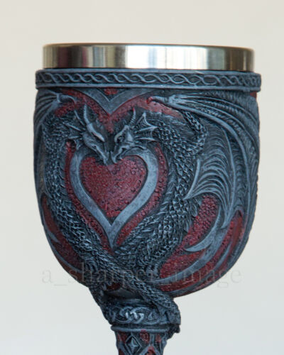 Occult Double Dragon Heart Wine Goblet Chalice Faux Stone Gothic Fantasy