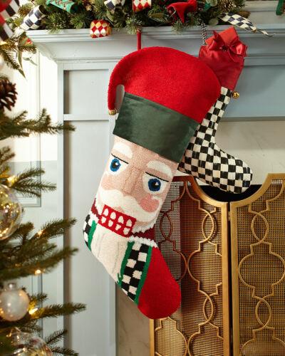 NWT MacKenzie-Childs Oversized Santa Christmas Stocking Neiman Marcus Exclusive