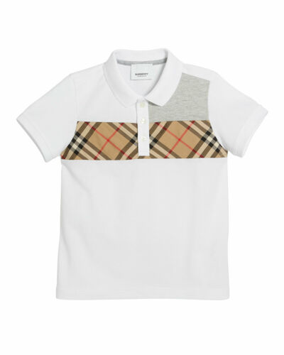 NWT NEW Burberry Jeff boys white blue contrasting polo nova check 6 8 10 12 14y