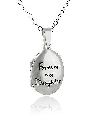 Engraved Forever My Daughter Locket Necklace - 925 Sterling Silver 2 Photos NEW